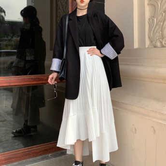 【単品注文】美人度アップ レトロ折襟無地トップス ギャザー飾り不規則スカート2点セット