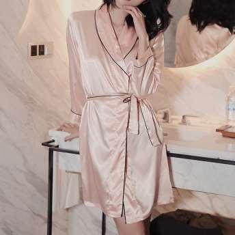超人気商品 シンプル手触り良く折り襟シルクカーディガン九分袖ワンピースルームウェアパジャマ